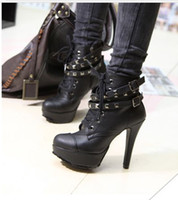 Wholesale 2013 New Fashion Punk Black tangerine boots short boots high heeled boots with thick soles and locomotive fine Martin Rome rivet shoes