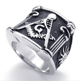 New Cool Men's rings Stainless Steel Jewellery Fashion Masonic jewelry Compass + colt+Letter G ring IB73770