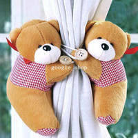 Wholesale 10 Pairs Lovely Little Bear Window Curtain Buckle Tieback Clamp Clip Hook