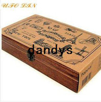 Wholesale wood travel memories stamp gift set mini stamp Iron Box multi purpose Decorative DIY funny work