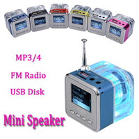 Wholesale New arrival Colors Mini Digital Portable speaker Music MP3 Player Micro SD TF USB Disk Speaker With FM Radio