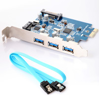 Wholesale 4 Port USB PCI E PCI Express External Internal Port with pin SATA Power Connector Cable Free Drop Shipping