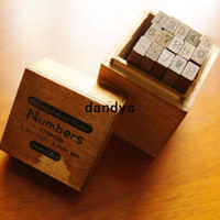 Wholesale wood number stamp gift set mini stamp Iron Box multi purpose Decorative DIY funny work