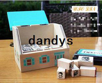 Wholesale Wooden green house stamp gift set mini stamp Iron Box multi purpose Decorative DIY funny work