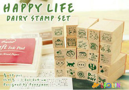 Free Shipping New Happy lift green wooden Love diary stamp set DIY stamp wood Box gift stamp Wholesale