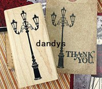 Wholesale Vintage classical streetlight designwood stamp gift stamps rubber stamp whloessale