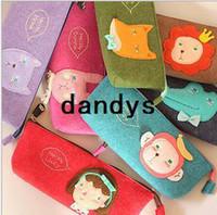 Fabric animal pencil bag - New korean animal series felt fabric pencil bag pencil case pencil pouch pen bag