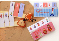 Wholesale Cute cartoon series stripe sticky memo pad Notepad