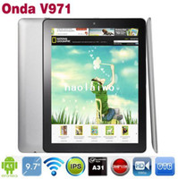 Wholesale Onda V971 Quad Core Android Allwinner A31 inch IPS Retina Point Capacitive Screen GB DDR3 RAM GB ROM Tablet PC