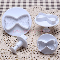 Wholesale new set Bow tie Shape Fondant Cake Decorating Cookies Cutter Sugarcraft Mould Tools plunger