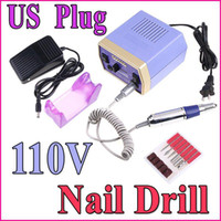 Nail Art Stamping Machine Nail Drill 13.5 * 2.6cm (L * D) Electric Nail Drill Art Equipment Glazing Manicure Machine 6 Bits Kit Tools With Foot Pedal (US Plug),Free Shipping Wholesale