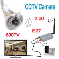 Wholesale New G Wireless Bulb CCTV Security AV Camera Set TVL PAL quot COMS Channels Invisible IR LEDs E27 Freeshipping