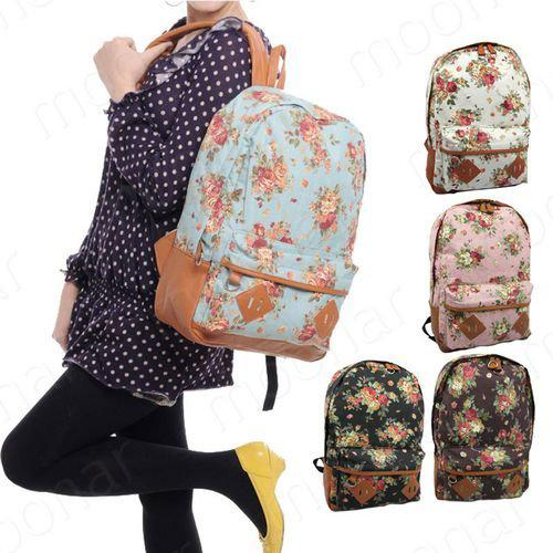 Women Girls Floral Canvas Cute School Book Satchel Travelling ...
