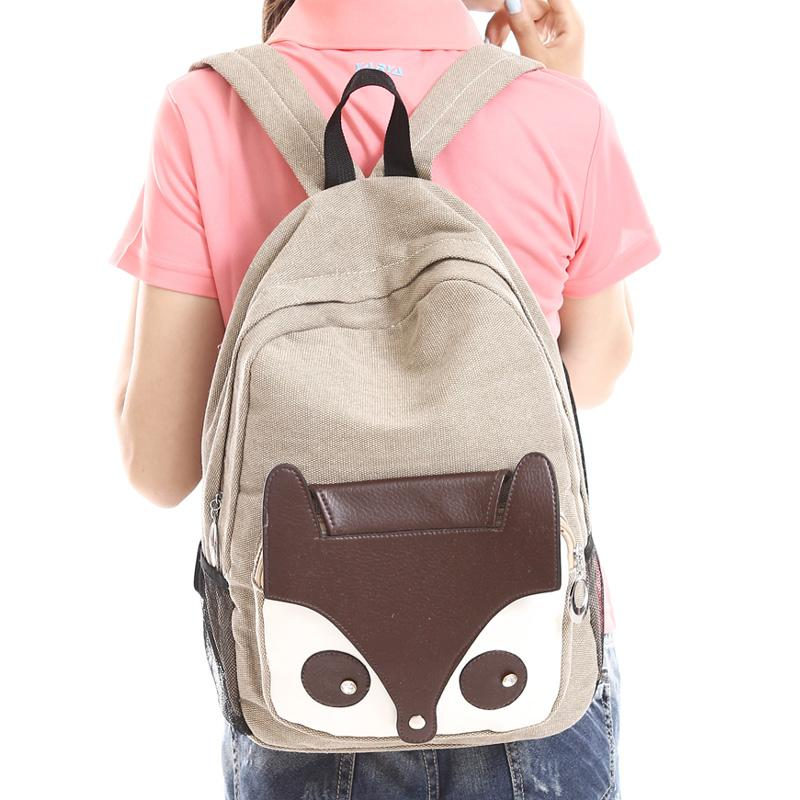 Cute bags fox canvas backpack middle school students school bag ...