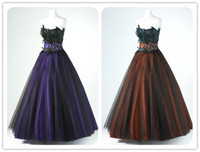 Wholesale 2015 Real Sample Ball Gown Strapless Black Tulle Over Satin Long Peacock Feather Prom Dress Formal Evening Dresses Homecoming Dresses