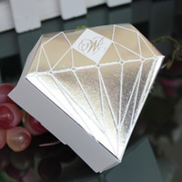 Wholesale 50pcs Silver Diamond shaped Candy Box Paper Gift Jewelry DIY Boxes Wedding favors White Gold