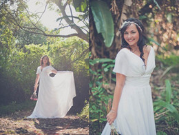 Wholesale Grecian Goddess Discounted Store Sample Wedding Dress with Sheer Sleeves pregnant women wedding dresses