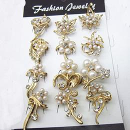 Gold Tone Clear Crystal Mixed Designs Fashion Small Crystal&Pearl Brooch Pins 24PCS LOT Free Shipping B639