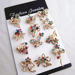 Wholesale Cheap Price 24PCS LOT Gold Plated Mixed Designs Multi Color Crystal Small Brooches