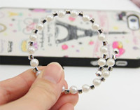Wholesale New Arrival Silver Tone Crystal And Pearl One Row Bangle