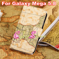 Leather For Samsung  World Map Folio PU Wallet Flip Leather Case Cover With Credit Card Slots Slot Stand For Samsung Galaxy Mega 5.8 i9150