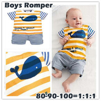9-12 Months Boy Summer 2013 Summer Boys One-piece & Romper Striped Ocean Whale Jumpsuits 3 Sizes 12M-36M baby Rompers Onesies Newborn Clothes Outfits Sets