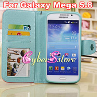 Leather For Samsung  Luxury Contrasting Candy Color Folio Wallet Leather Photo frame TPU inner Case Cover For Samsung Galaxy Mega 5.8 i9150