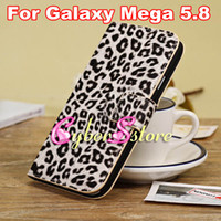 Leather For Samsung  Fashion Leopard Wallet Flip Leather Case Cover With Credit Card Slot Slot Holder Stand For Samsung Galaxy Mega 5.8 i9150