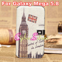 Leather For Samsung  New Retro Vintage Building Eiffel Tower London Bridge Wallet Leather Case Cover With Credit Card For Samsung Galaxy Mega 5.8 i9150