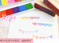 SPONGE+eviornmental ink no block baby stationery 6 color strip ink pad juicy environemtal ink pad safe for baby DIY rainbow ink sponge pad candy color eco fingerprint ink pad stamp inkpad