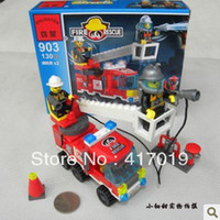 Building Plastic Blocks Free Shipping Enlighten 903 130pcs 3D DIY building block sets plastic building blocks toys for kid toy gift Fire Truck