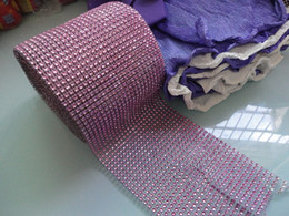Wholesale Pink Row quot x yard Wedding Favor Decoration Diamond Mesh Ribbon Roll Crystal Wrap Net drill