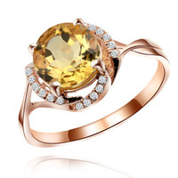 Natural crystal / semi-precious stones Citrine The 15th than the 20th ring ring ring ri Section deals with female models natural Citrine Ring Rose Gold Micro Pave CZ stone sterling silver jewelry Lucky
