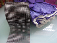 Wholesale Black quot x yard Row Wedding Favor Decoration Diamond Mesh Ribbon Roll Crystal Wrap Factory selling