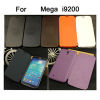 Leather For Samsung  Front Flip Cover leather case open window Cases for samsung galaxy Mega i9200