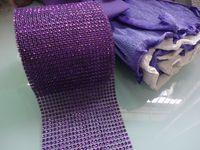 mesh ribbon - Hot Sell Purple quot x yard Row Wedding Decoration Diamond Mesh Roll Rhinestone Ribbon Crystal Wrap