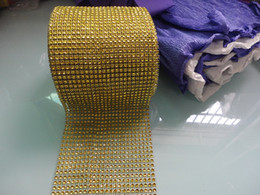 Wholesale 4 quot x10 Yards Row DIAMOND MESH WRAP ROLL SPARKLE RHINESTONE Crystal Ribbon Gold color