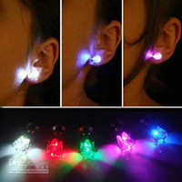 Wholesale Novelty LED Flashing Light Stainless Steel Rhinestone Ear Stud Earrings Fashion Jewelry rave toys gift