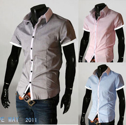 Wholesale Korean Fashion Men T Shirt Design Turn Down Collar Solid Color Slim Stylish Tide Menswear Short Sleeve Men Dress Shirt