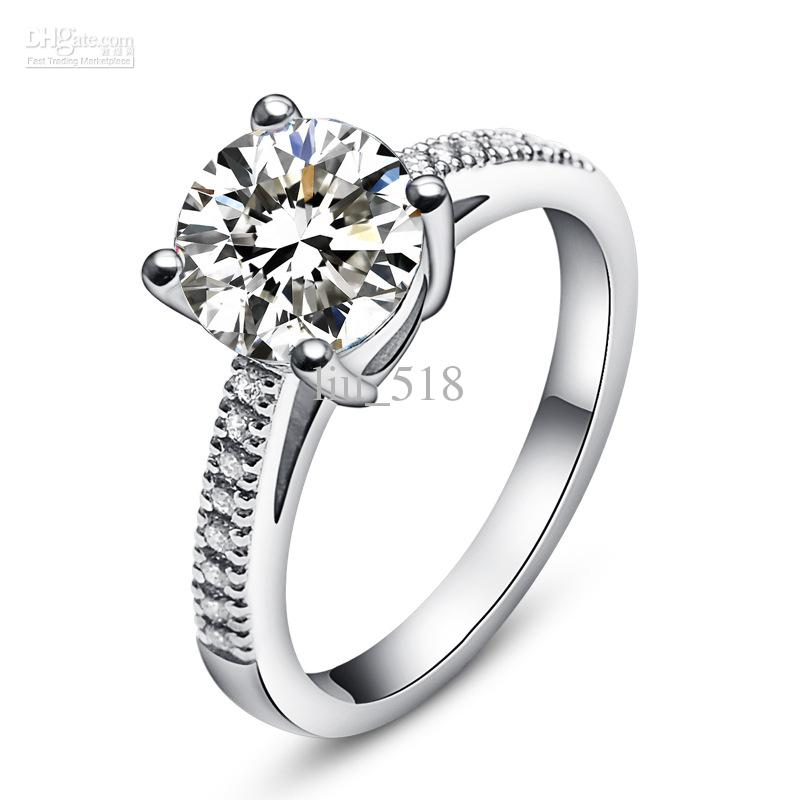 2kt Luxury Four Claws Top High Imitation Diamonds Ring Lady Number A