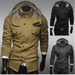 Wholesale 2838 color sólido clásico encapuchado ocasional Hoodies capa de la chaqueta nuevos hombres CALIENTES de la chaqueta de los hombres de un estilo militar