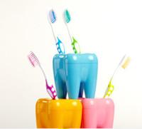 Wholesale 50pcs teeth style toothbrush holder stand brush rack tooth brush shelf shaving razor holder