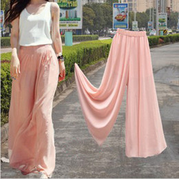 Wholesale Womens Wide Leg Chiffon High Waist Pants Long Loose Culottes Trousers