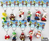 Cartoon Decoration Men New 2 Set 22pcs Super Mario Yoshi Mushroom Figures Key Ring Chain Set Gift