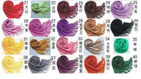 Wholesale hot selling pieces perfect Fashion Women s Pashmina Tassels Scarf Shawl Solid Colors