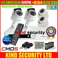 Wholesale Freeship CH H Full D1 DVR system CCTV Home Video Surveillance system with cmos tvl Surveillance indoor outdoor IR security Camera