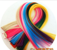 Wholesale Colorful Popular Colored Clip On In Hair Extensions Straight hair and hair color wig