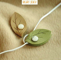 Wholesale Free Shipment lucky leaf cable winder Moblie Earphone bobbin winder cable management one pair stationery set kid gift