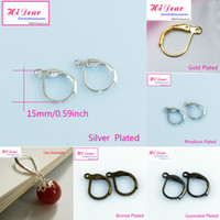 Wholesale Lever Back French Clip Earring Hooks Copper Metal Jewelry Earring Making Findings Jewellry Ear wires Gold Silver Rhodium Bronze Plated mm