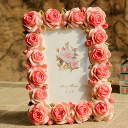 Wholesale vintage style sweet rose resin quality photo frame pic frame for inch photo